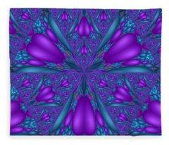 Purple Mixed Fractal Flower Fleece Blanket