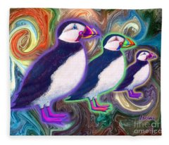 Purple Puffins Fleece Blanket