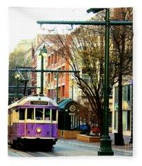 Purple Trolley Fleece Blanket