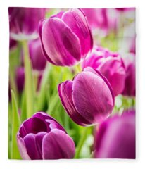 Purple Tulip Garden Fleece Blanket