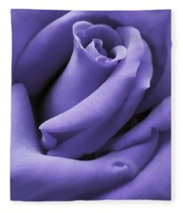 Purple Velvet Rose Flower Fleece Blanket