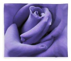 Purple Velvet Rose Flower Fleece Blanket
