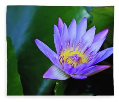 Purple Water Lily Fleece Blanket