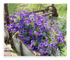 Purple Wave Petunias In Rusty Horse Drawn Spreader Fleece Blanket