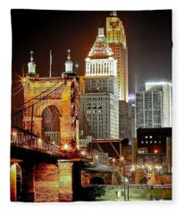 Queen City At Night Fleece Blanket