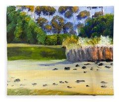 Quiet Sand By The Creek Fleece Blanket