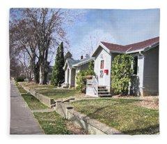 Quiet Street Waiting For Spring Fleece Blanket