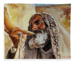 Rabbi Blowing Shofar Fleece Blanket