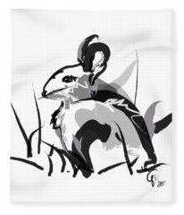 Rabbit Bunny Black White Grey Fleece Blanket