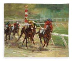 Race Horses Fleece Blanket