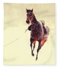 Race In The Snow Fleece Blanket