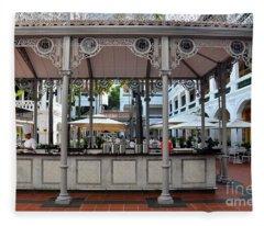 Raffles Hotel Courtyard Bar And Restaurant Singapore Fleece Blanket