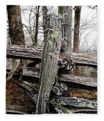 Rail Fence With Ice Fleece Blanket