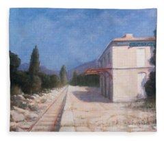 Rail Station, Châteauneuf, 2012 Acrylic On Canvas Fleece Blanket