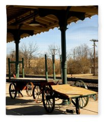 Railroad Wagons Fleece Blanket