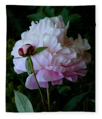 Rain-soaked Peonies Fleece Blanket