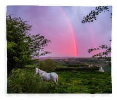 Rainbow At Sunset In County Clare Fleece Blanket