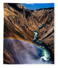 Rainbow At The Grand Canyon Yellowstone National Park Fleece Blanket