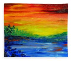 Rainbow Back Waters Fleece Blanket