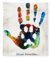 Rainbow Bridge Art - Never Forgotten - By Sharon Cummings Fleece Blanket