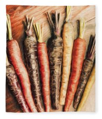 Rainbow Carrots. Vintage Cooking Illustration  Fleece Blanket