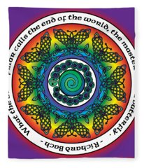Rainbow Celtic Butterfly Mandala Fleece Blanket