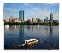 Rainbow Duck Boat On The Charles Fleece Blanket
