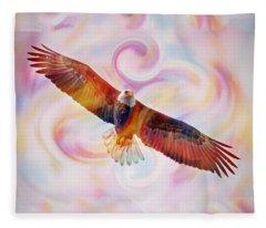 Rainbow Flying Eagle Watercolor Painting Fleece Blanket