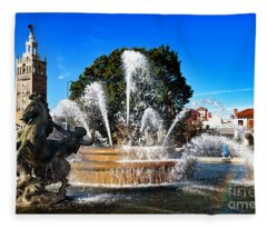Rainbow In The Jc Nichols Memorial Fountain Fleece Blanket