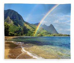 Rainbow Over Haena Beach Fleece Blanket