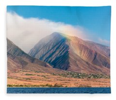 Rainbow Over Maui Mountains   Fleece Blanket
