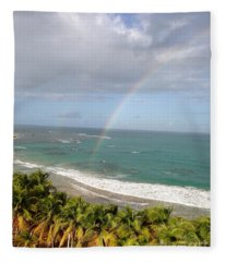 Rainbow Over Palms Fleece Blanket