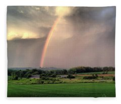 Rainbow Poured Down Fleece Blanket