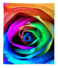 Rainbow Rose Fleece Blanket