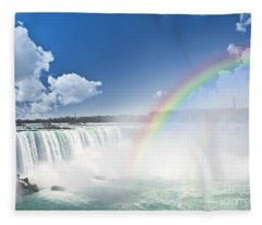 Rainbows At Niagara Falls Fleece Blanket