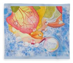 Raindrops On Roses Watercolor Art Prints Fleece Blanket