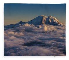 Rainier Hood Adams And St Helens From The Air Fleece Blanket