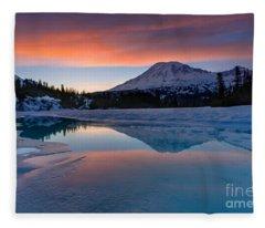 Rainier Snowbound Lake Sunset Skies Fleece Blanket