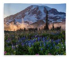 Rainier Wildflower Meadows Pano Fleece Blanket