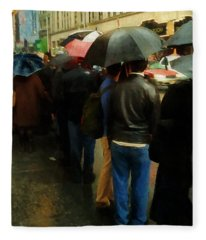 Rainy Afternoon On Broadway Fleece Blanket