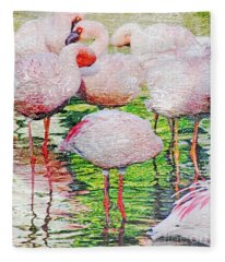 Rainy Day Flamingos 2 Fleece Blanket