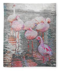 Rainy Day Flamingos Fleece Blanket
