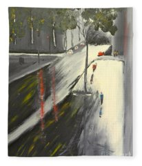 Rainy Street In Melbourne Fleece Blanket