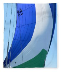 Raising The Blue And Green Sail Fleece Blanket