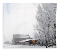 Ranch In Frozen Fog Fleece Blanket