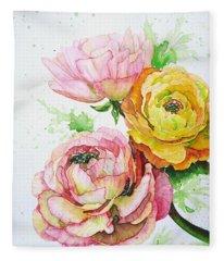 Ranunculus Flowers Fleece Blanket