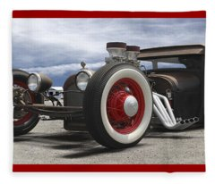 Rat Rod On Route 66 Panoramic Fleece Blanket