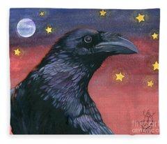 Raven Steals The Moon - Moon What Moon? Fleece Blanket