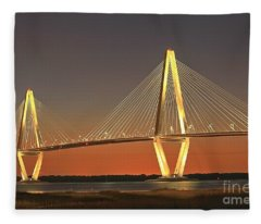 Ravenel Bridge At Dusk Fleece Blanket