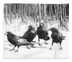 Ravens By The Edge Of The Woods In Winter Fleece Blanket